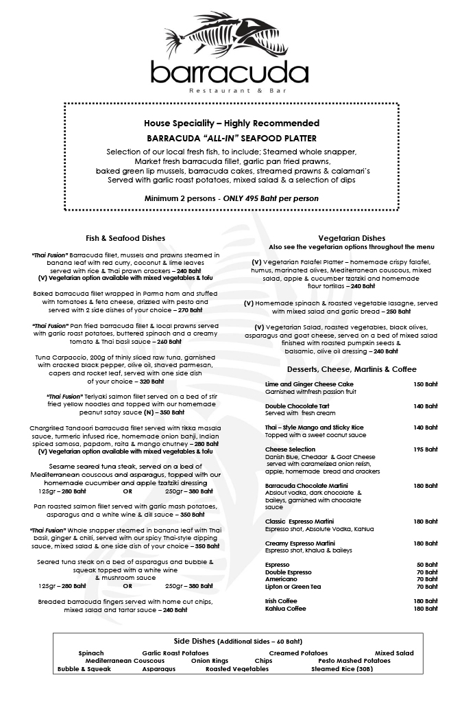 Fish and Seafood, Meat, Vegetarian Option and Sides Menu